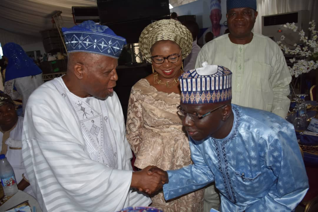PIX 1: From left;Former Governor Central Bank of Nigeria;Chief Joseph Oladele Sanusi and Acting Director-General of Securities and Exchange Commission, Nigeria, Ms. Mary Uduk at the 7th day Fidau prayer & Reception for Late SEC Chairman, Alhaji Gbadamosi Otiti in Lagos