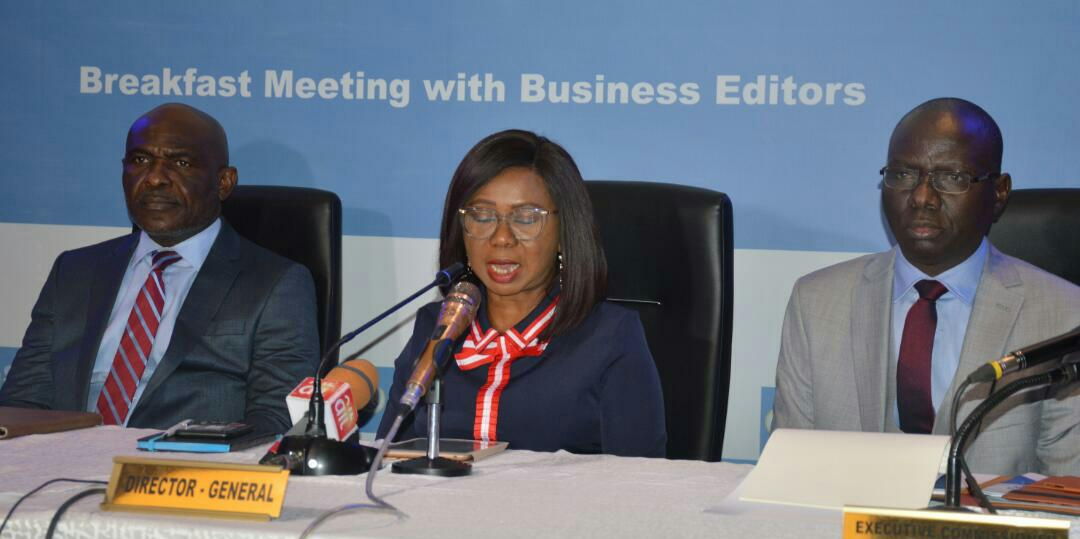 From left;Head, Investment Management Department, SEC;Mr Efiok Efiok;Acting Director-General of Securities and Exchange Commission, Nigeria Ms Mary Uduk; Acting Executive Commissioner Operations SEC, Mr Isyaku Tilde at Securities and Exchange Commission (SEC) breakfast Meeting with Business Editors in Lagos