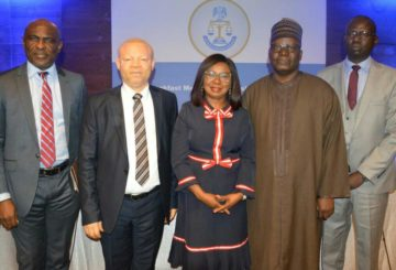 From left;Head Investment Management Department, Securities and Exchange Commission, Mr. Efiok Efiok, and Executive Commissioner, Legal and Enforcement, SEC;Reginald Karawusa; Acting Director-General of Securities and Exchange Commission, Nigeria Ms Mary Uduk; former Director General and Chairman, Securities and Exchange Commission;Dr Suleyman Ndanusa; and Acting Executive Commissioner Operations SEC, Mr Isyaku Tilde; at Securities and Exchange Commission (SEC)breakfast Meeting with Business Editors in Lagos