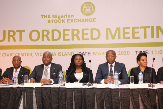 L – R shows Mr. Oscar N. Onyema, OON, Chief Executive Officer, The Nigerian Stock Exchange (NSE); Otunba Abimbola Ogunbanjo, President of Council, NSE; Mrs. Mojisola Adeola, Council Secretary, NSE and Mr. Aigbojie Aig-Imokhuede, CON, Ex-Officio, NSE and Mrs Catherine Nwakaego Echeozo, Second Vice President, NSE during a Court Ordered Meeting (COM) and an Extraordinary General Meeting (EGM) at the Civic Center, Lagos