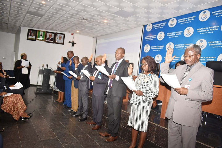 Cross Section of the Securities and Exchange Commission Staff Anti-Corruption Uit and their Management during the Inauguration Ceremony of Anti-Corruption, Transparency Unit and Monitoring Unit of SEC in Abuja yesterday