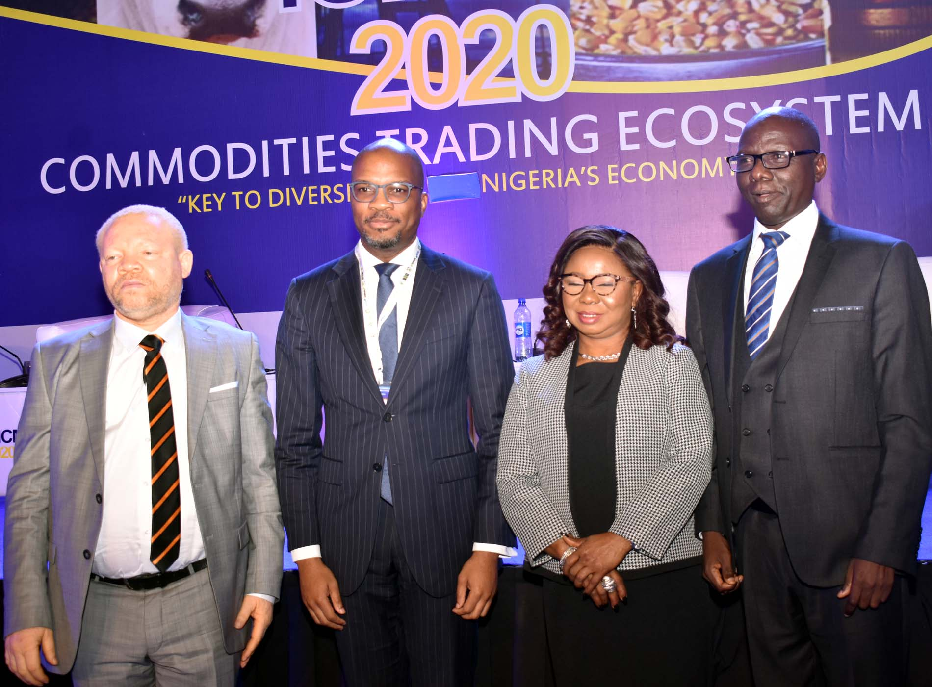 L-R, Acting Executive Commissioner Legal and Enforcement > Securities and Exchange Commission, Mr Reginald Karawusa, Managing > Director, Infrastructure Credit Guarantee Company Mr Chinua Azubike, > Acting Director General SEC Ms Mary Uduk and Acting, Executive > Commissioner Operations, SEC Mr Isyaku Tilde during the during the > International Conference on Nigerian Commodities Market in Abuja, Tuesday