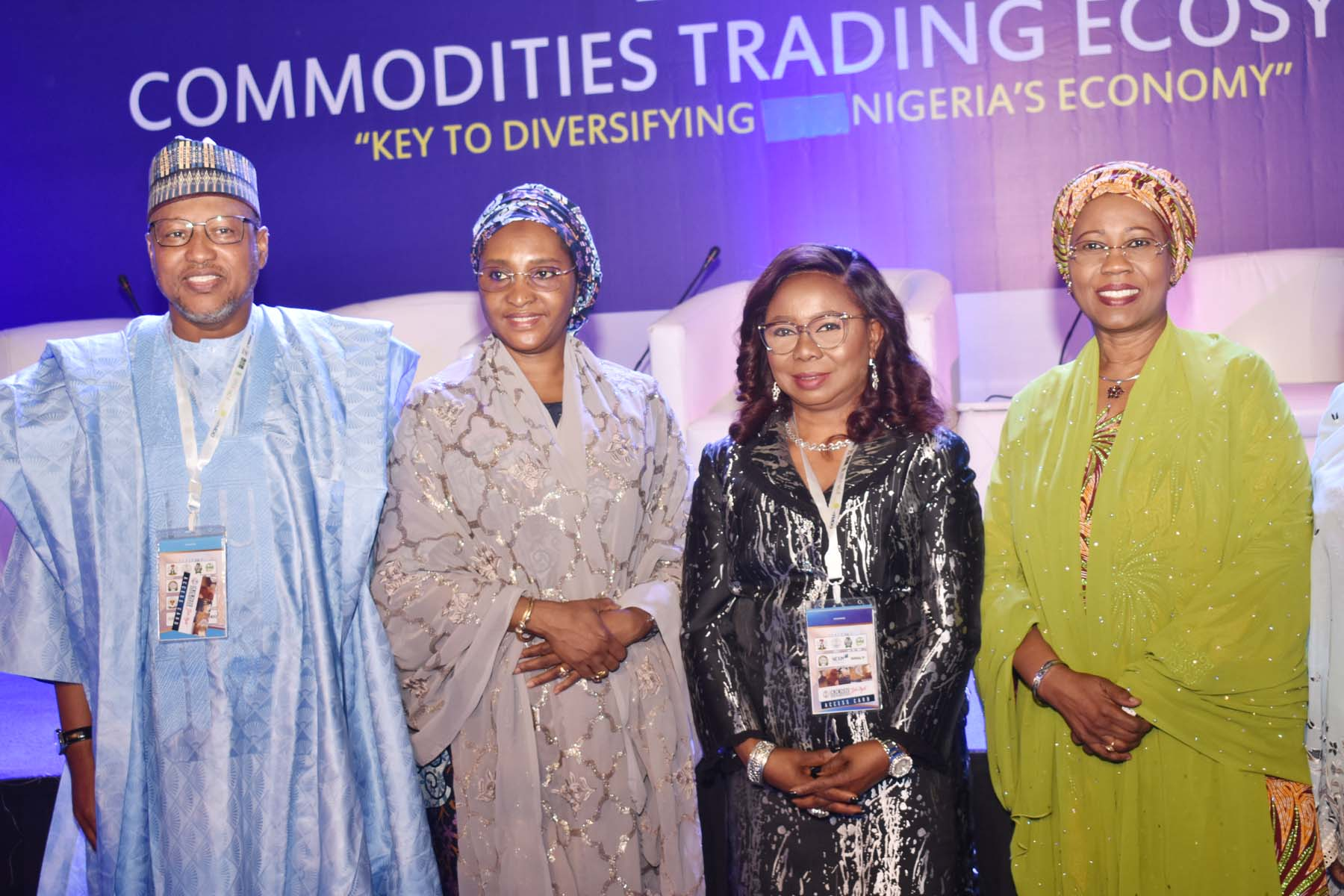 LR,  Chairman, House Committee on Capital Market Hun > Babangida Ibrahim, Minister of Finance, Budget and National Planning > Mrs Zainab Ahmed, Acting Director General Securities and Exchange > Commission Ms Mary Uduk and Minister of State for Industry, Trade and > Investment Mrs Mariam Katagum during the International Conference on > Nigerian Commodities Market in Abuja, Monday