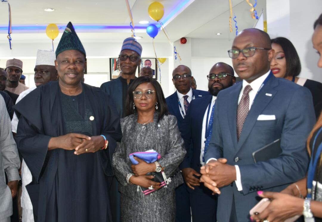 His Excellency, Senator Ibikunle Amosun, Chairman, Senate  Committee on Capital; Ag. Director-General, Securities and Exchange Commission, Ms. Mary Uduk; and Chief Executive Officer, FMDQ Group, Mr. Bola Onadele. Koko, during the Senate Committee's Visit to FMDQ's Exchange Place in Lagos