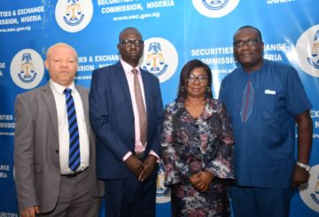 Acting Executive Commissioner Legal and Enforcement Securities and Exchange Commission , Mr. Reginald Karawusa, Acting Executive Commissioner, Operations, SEC Mr Isyaku Tilde, Acting Director General SEC Ms Mary Uduk and Acting Executive Commissioner Corporate Services, SEC Mr Edward Okolo during a Meeting between Management of SEC and Staff in Abuja, Monday