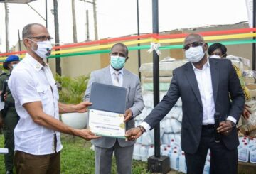L-R: Commissioner for Health, Prof. Akin Abayomi; Manager Public Affairs, Nigerian National Petroleum Corporation, Alhaji Aliyu Ja'afaru and Managing Director, Shell Nigeria Exploration and Production Company, Mr Bayo Ojulari at the donation of Covid-19 medical equipment and consumables to the Lagos State Government held at the Infectious Disease Hospital, Yaba.