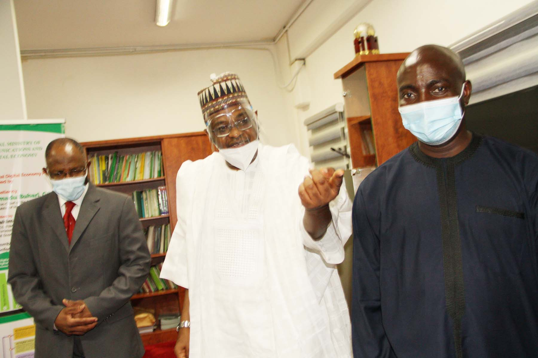 L-R,  Director General, Securities and Exchange Commission Mr. Lamido Yuguda, Minister of Communications and Digital Economy Mr Ali > Pantami and Assistant Director, SEC Mr Bagudu Waziri during a Meeting > between SEC and > Minister of Communications and Digital Economy in Abuja > yesterday