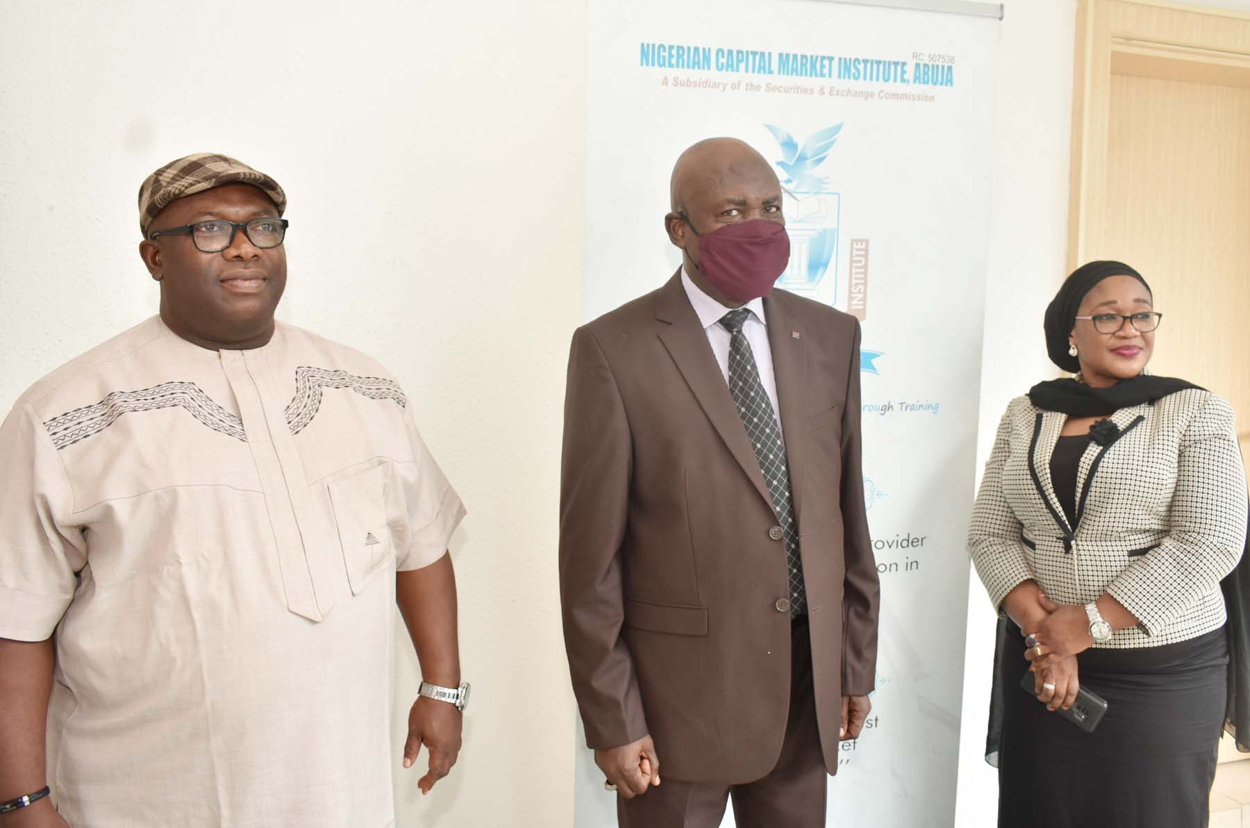 L-R,  Head Programs/Secretary of the Board, Nigerian Capital  Market Institute Barr Isikong Isong, Managing Director NCMI Mr  Ismaila  Ville and Head Marketing, Consultancy, Research and  Publications NCMI Mrs Sadaatu Faruk during a Media Briefing on the  Activities of the Institute in Abuja, weekend