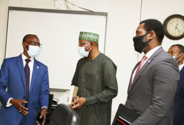L-R, Managing Director Jaiz Bank Mr Hassan Usman, Director General, Securities and Exchange Commission Mr Lamido Yuguda and Executive Commissioner Operations SEC Mr Dayo Obisan during a Meeting between SEC and Jaiz Bank in Abuja.