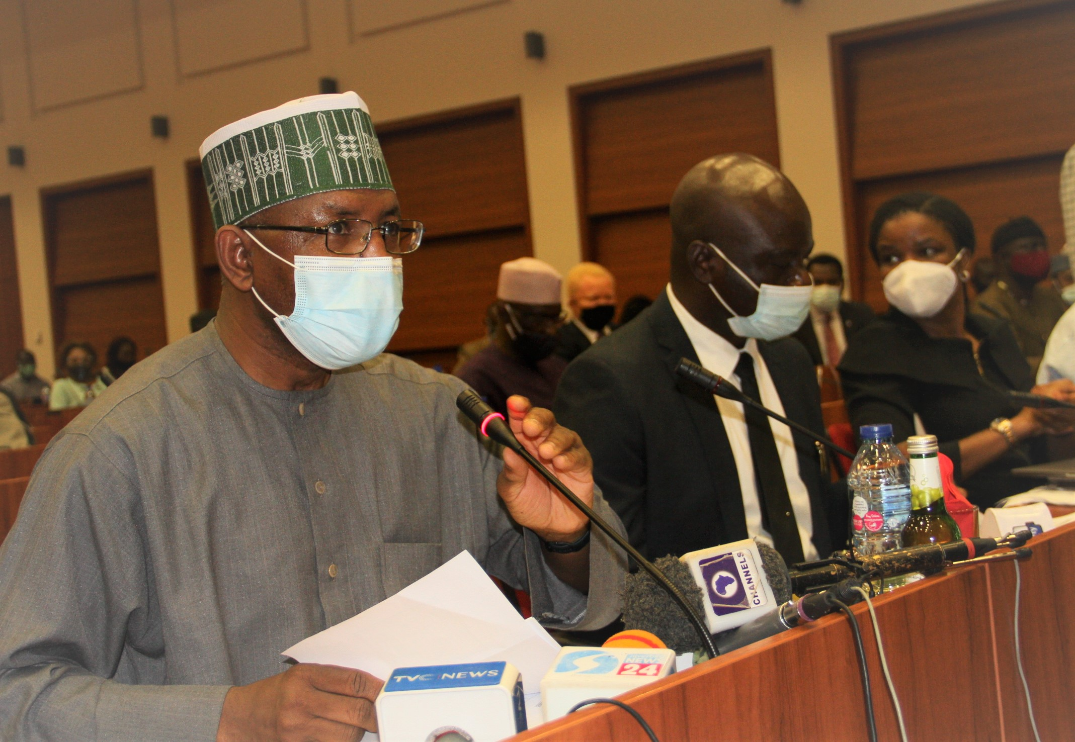 L-R,  Director General, Securities and Exchange Commission Mr Lamido Yuguda, Head, Finance and Accounts Mr Frank Aul and Executive Secretary, Nigerian Investment Promotion Commission Ms Yewande Sadiku during a Senate Public Hearing Interactive Session on the 2021-2023 Medium Term Expenditure Frame work and Fiscal Strategy Paper at the National Assembly yesterday