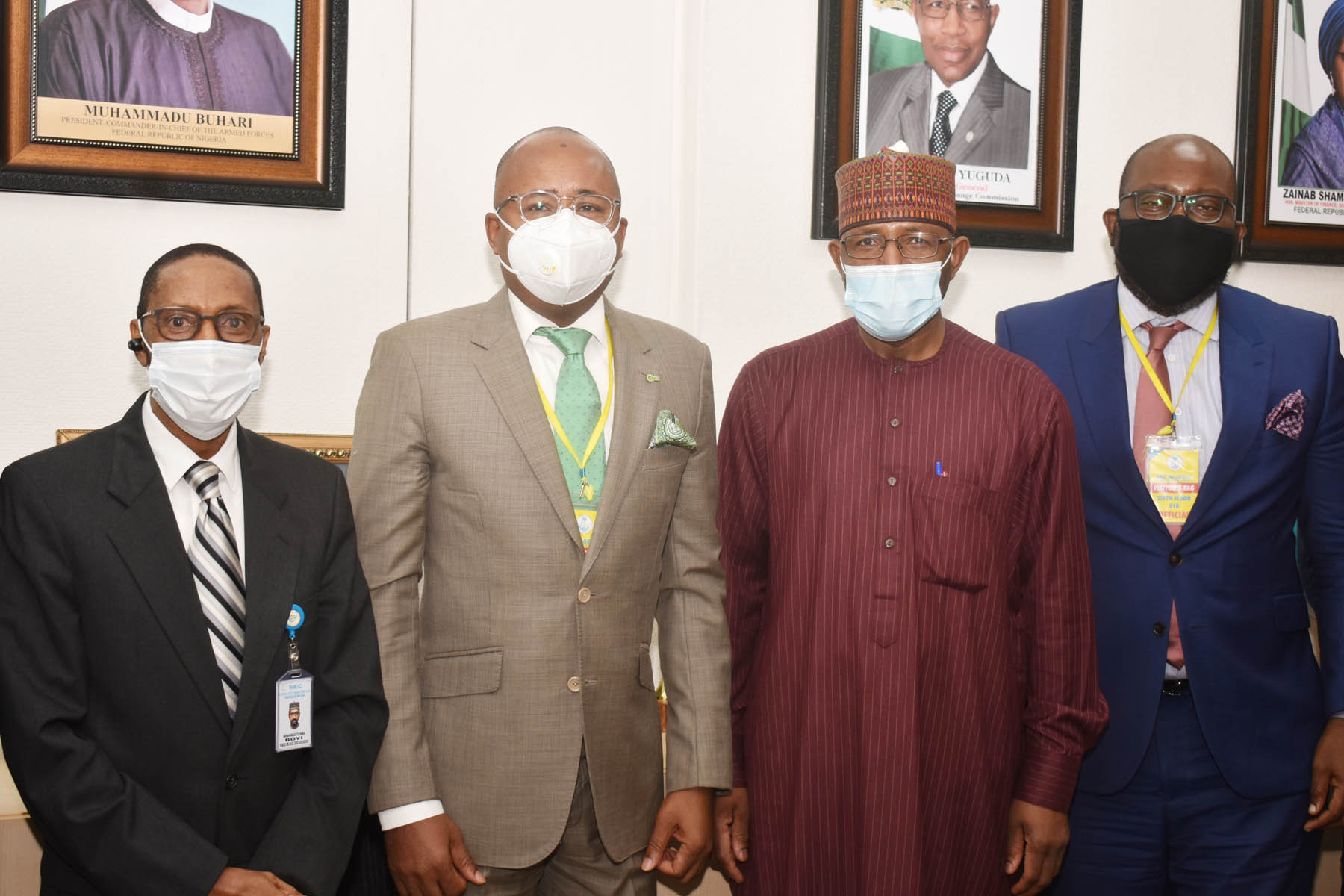 L-R, Executive Commissioner Corporate Services >> Securities and Exchange >> Commission Mr Ibrahim Boyi, Managing Director Central Securities >> Clearing System Plc Mr Haruna Jalo-Waziri, Director General SEC Mr >> Lamido Yuguda and Divisional Head Business Development CSCS Mr >> Adeyinka Shonekan  during a meeting between the SEC and CSCS in Abuja >> yesterday