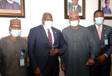 L-R, Executive Commissioner Corporate Services, Securities and Exchange Commission Mr Ibrahim Boyi, Commissioner for Insurance, National Insurance Commission Mr Sunday Thomas, Director General, SEC Mr Lamido Yuguda and Executive Commissioner Operations Mr Dayo Obisan during a Meeting between The SEC and NAICOM in Abuja yesterday