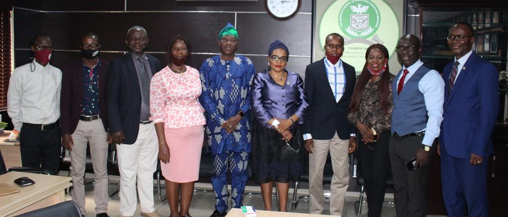 L-R: Financial Secretary, the National Association of Insurance and Pension Correspondents(NAIPCO), Mr. Mathew Otoijagha; General Secretary, NAIPCO, Mr. Zaka Khaliq; Honourary Treasurer, the Nigerian Council of Registered Insurance Brokers(NCRIB), Mr. Wale Oshodi; PRO, NAIPCO, Mrs. Amaka Obiefuna; Vice President, NCRIB,  Mr. Tunde Oguntade; the President, NCRIB, Mrs. Bola Onigbogi; the Chairman, NAIPCO, Mr. Chuks Okonta; Vice Chairman, NAIPCO, Ms. Ngozi Onyeakusi; Assistant Executive Secretary(AGS), NCRIB, Mr. Tope Adaramola and the Executive Secretary, NCRIB, Mr. Fatai Adegbenro; at a courtesy visit of the executives of NAIPCO to the executives of NCRIB at NCRIB Secretariat in Yaba, Lagos yesterday.