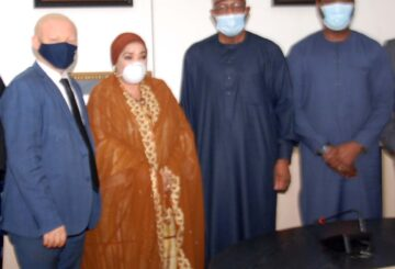 L-R, Executive Commissioner Legal and Enforcement Securities and Exchange Commission Mr Reginald Karawusa, Managing Director,Nigeria Commodity Exchange Hajia Zaheera Baba-Ari, Director General, SEC Mr Lamido Yuguda and Executive Commissioner Operations SEC Mr Dayo Obisan during a Meeting between The SEC and NCE in Abuja yesterday