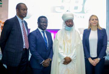 L-R: Mr. Mohammed Edewor, Board Member 9PSB; Mr. Asega Aliga Board Member 9PSB; His Highness Emir of Bichi, Alhaji Nasir Ado Bayero and Branka Mracajac, CEO 9PSB at the launch of 9 Payment Service Bank (9PSB) recently.