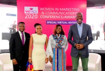 L-R: Joshua Ajayi, Convener, WIMCA; Ayodele Otujinrin, Head of Marketing, West Africa, Godrej Consumer Products Limited; Pheobe Dami-Asolo, Customer Marketing & Commercial Manager, The Coca-Cola Company and Amaechi Okobi, Group Head, Corporate Communications, Access Bank at the 2020 Women In Marketing and Communications Conference/Awards (WIMCA) held at Hibrid Studio, Lagos recently.