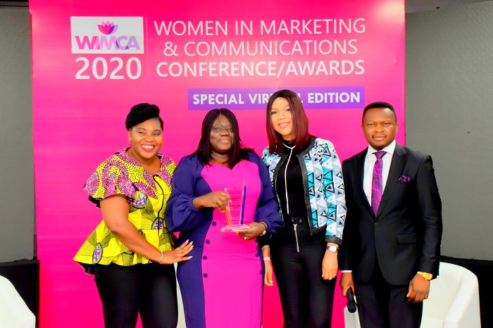 L-R: Dr. Tola Bamigbaiye-Elatuyi, Executive Director, Marketing HS Media Group; Omobolanle Victor-Laniyan, Head of Sustainability, Access Bank Plc and WIMCA Awardee; Yetunde Adegbite, Managing Director,  Posterscope Nigeria and Joshua Ajayi, Convener, WIMCA at the 2020 Women In Marketing and Communications Conference/Awards (WIMCA) held at Hibrid Studio, Lagos recently.